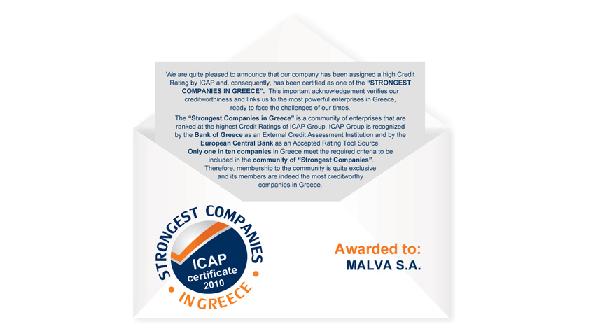 ICAP recognizes Malva Among Strongest Companies in Greece